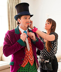 Behind the scenes at Charlie and the Chocolate Factory.<br /> Douglas Hodge prepares for the show at the Theatre Royal Drury Lane where the cast of Charlie and the Chocolate Factory are getting ready for another show before this week's opening night.<br /> London, United Kingdom      <br /> 19th June 2013<br /> Picture by Helen Maybanks / i-Images