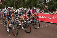 LONDON UK 30TH JULY 2016:   Classique Cyclist Chloe Hosking  (Wiggle Honda Pro Cycling team). The Prudential RideLondon Classique elite womens' race. Prudential RideLondon in London 30th July 2016<br /> <br /> Photo: Jon Buckle/Silverhub for Prudential RideLondon<br /> <br /> Prudential RideLondon is the world's greatest festival of cycling, involving 95,000+ cyclists – from Olympic champions to a free family fun ride - riding in events over closed roads in London and Surrey over the weekend of 29th to 31st July 2016. <br /> <br /> See www.PrudentialRideLondon.co.uk for more.<br /> <br /> For further information: media@londonmarathonevents.co.uk