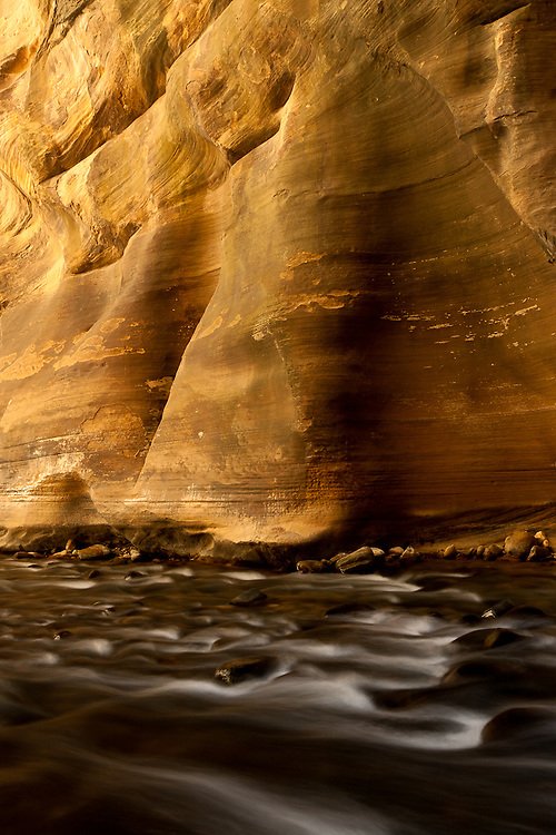 The effects from the flash floods that carve the slot canyons are clearly seen on the rock walls of the Narrows, in Zion National Park, Utah