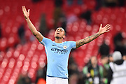 Danilo (3) of Manchester City celebrates at full time after the 3-0 win over Arsenal during the EFL Cup Final match between Arsenal and Manchester City at Wembley Stadium, London, England on 25 February 2018. Picture by Graham Hunt.