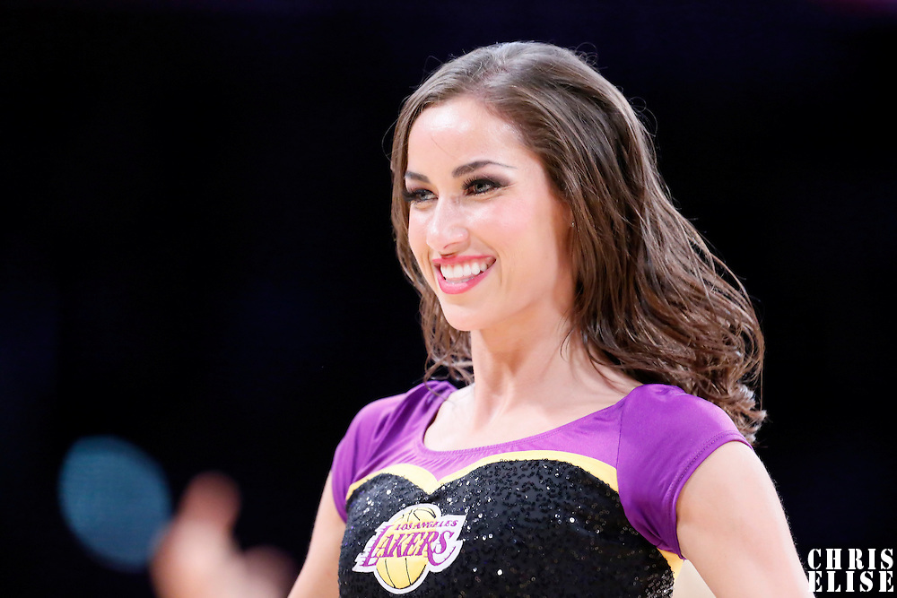 10 February 2015: Laker Girl Shelbie performs during the Denver Nuggets 106-96 victory over the Los Angeles Lakers, at the Staples Center, Los Angeles, California, USA.