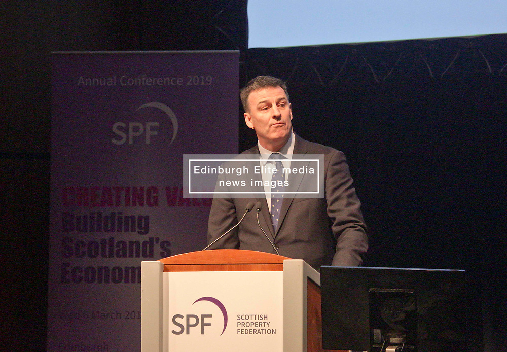 Pictured: <br /> Miller Mathieson, chairman of the Scottish Property Federation speaking at its conference at the EICC, Edinburgh. <br /> <br /> Terry Murden | EEm 6 March 2019