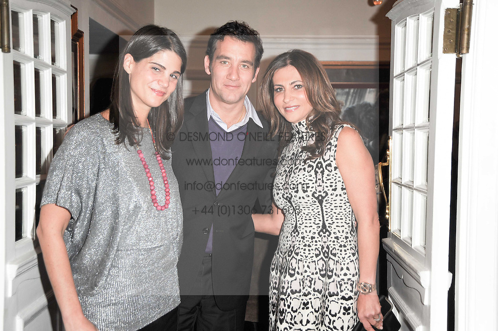 Left to right, KATRINA PAVLOS, CLIVE OWEN and ELLA KRASNER at an In-House screening of 'Sweet Smell of Success' hosted by Clive Owen presented by Tod's in association with Amend held at The Electric Cinema, 191 Portobello Road, London W11 on 29th November 2010.