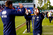 Shrewsbury Town manager Paul Hurst celebrates victory  during the EFL Sky Bet League 1 Play Off second leg match between Shrewsbury Town and Charlton Athletic at Greenhous Meadow, Shrewsbury, England on 13 May 2018. Picture by Simon Davies.