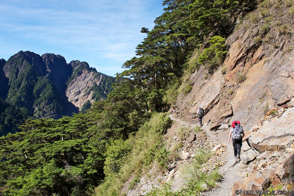 Hiking along the Yushan (Jade Mountain) Hiking Trail.