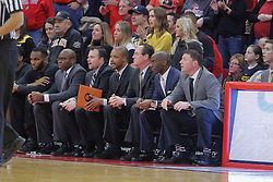 14 January 2017:  Gregg Marshall and his bench during an NCAA  MVC (Missouri Valley conference) mens basketball game between the Wichita State Shockers the Illinois State Redbirds in  Redbird Arena, Normal IL