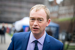© Licensed to London News Pictures. 29/03/2017. London, UK. Leader of the Liberal Democrats TIM FARRON speaks to media on College Green. British Prime Minister Theresa May has signed a letter to trigger Article 50 today. Photo credit : Tom Nicholson/LNP