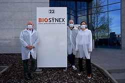 During the coronavirus crisis, Biosynex is the only laboratory to develop a COVID-19 screening test, on the territory of Alsace and the Northeastern, Grand Est in France. This test allows the detection of specific antibodies to the coronavirus in 10 minutes from a drop of blood. Covid-19 that appear approximately 10 to 15 days after contamination. The manufacture of this test is in progress in order to detect infected persons. Created in 2005 and based in Illkirch-Graffenstaden in Alsace, a major player in public health with more than 180 employees, the French laboratory BIOSYNEX designs, manufactures and distributes Rapid Diagnostic Tests (RDTs). April 15, 2020, in Strasbourg Northeastern, France. Photo by Nicolas Roses/ABACAPRESS.COM