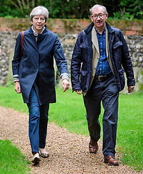 © Licensed to London News Pictures. 17/09/2017. British prime minister THERESA MAY Attends church with her husband PHILIP MAY, near their constituency home. . Photo credit: Ben Cawthra/LNP