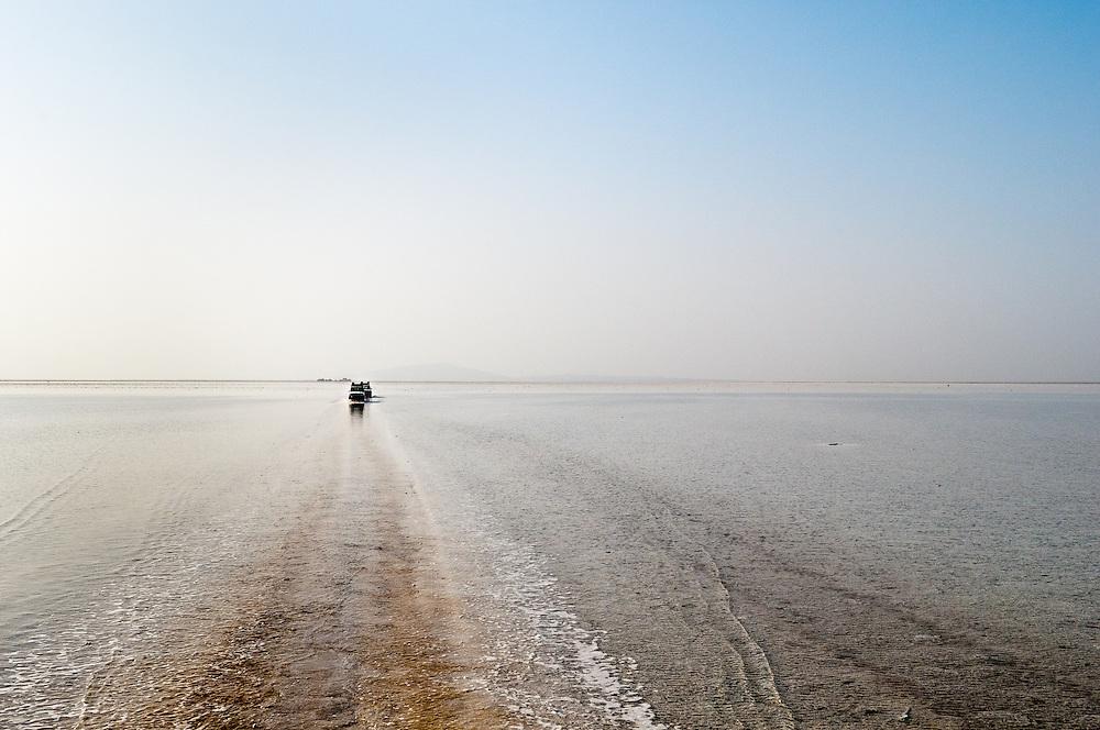 Salt lake after a rare flash flood. Danakil Depression, Ethiopia.