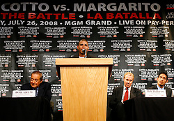 May 22, 2008; New York, NY, USA;  WBA Welterweight Champion Miguel Cotto speaks during the press conference announcing his fight against Antonio Margarito.  The two will meet on Saturday, July 26, 2008 at the MGM Grand Garden Arena in Las Vegas, NV.