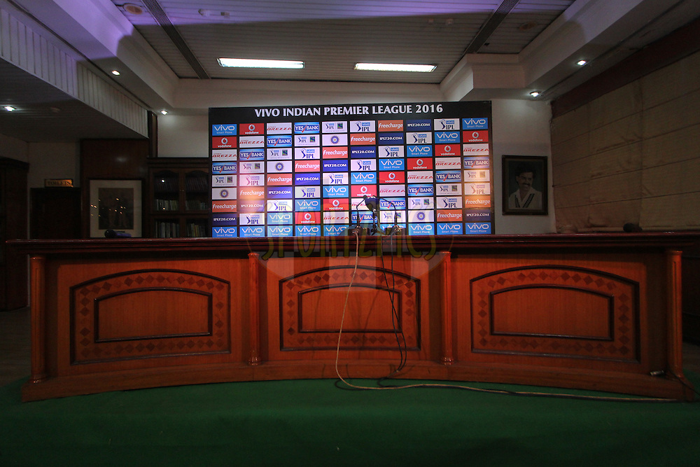 Pc room during match 36 of the Vivo Indian Premier League ( IPL ) 2016 between the Kings XI Punjab and the Delhi Daredevils held at the IS Bindra Stadium, Mohali, India on the 7th May 2016<br /> <br /> Photo by Arjun Singh / IPL/ SPORTZPICS