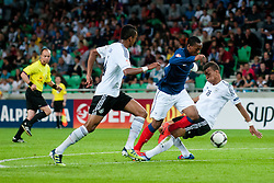Anthony Martial of France vs Marian Sarr of Germany and Kevin Akpoguma of Germany during the UEFA European Under-17 Championship Group A match between Germany and France on May 10, 2012 in SRC Stozice, Ljubljana, Slovenia. Germany defeated France 3:0. (Photo by Matic Klansek Velej / Sportida.com)