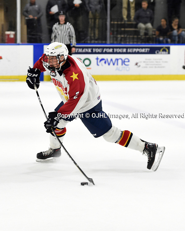 BUFFALO, NY - SEP 20,  2017: Ontario Junior Hockey League Governors Showcase game between the Toronto Jr. Canadiens and Wellington Dukes, Declan Carlile #2 of the Wellington Dukesshoots the puck during the second period.<br /> (Photo by Andy Corneau / OJHL Images)