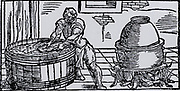 Mercury.  Extracting mercury from ore by placing ore covered by sand and ashes in an earthenware pot on stand with a fire underneath.  The mercury was retrieved from the bottom of the pot after cooling.  From 'De la pirotechnia' by Vannoccio Biringuccio (Venice, 1540).