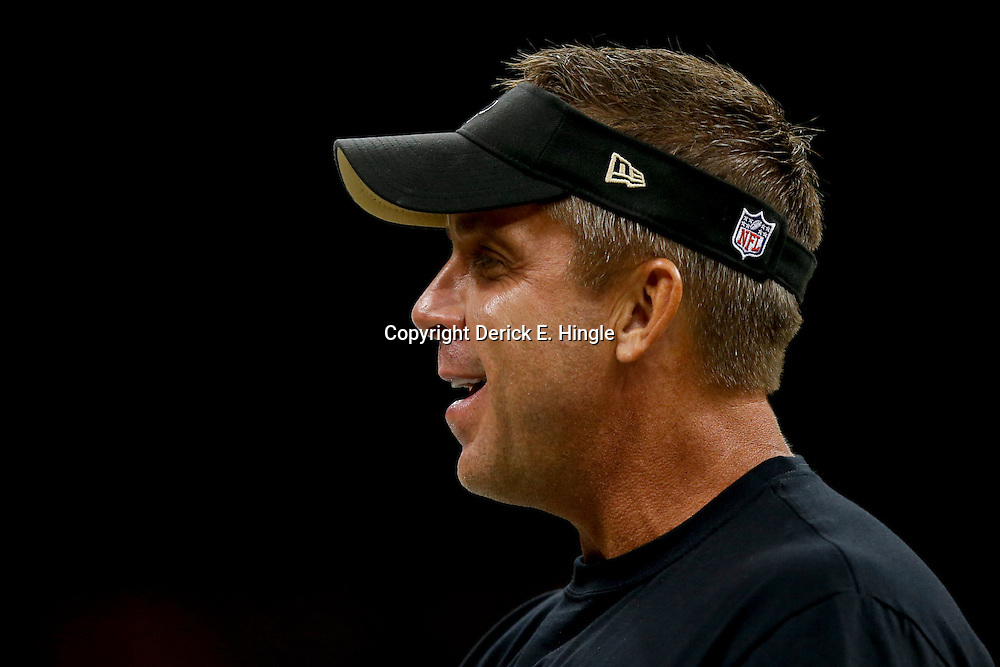 Aug 9, 2013; New Orleans, LA, USA; New Orleans Saints head coach Sean Payton against the Kansas City Chiefs during the first half of a preseason game at the Mercedes-Benz Superdome. The Saints defeated the Chiefs 17-13. Mandatory Credit: Derick E. Hingle-USA TODAY Sports