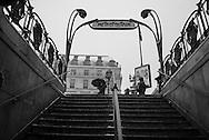 France . Paris 1st district; Palais royal subway entrance