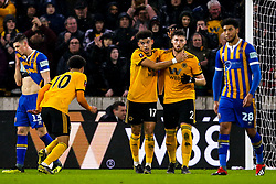 Matt Doherty of Wolverhampton Wanderers celebrates with teammates after scoring a goal to make it 2-2 - Mandatory by-line: Robbie Stephenson/JMP - 05/02/2019 - FOOTBALL - Molineux - Wolverhampton, England - Wolverhampton Wanderers v Shrewsbury Town - Emirates FA Cup fourth round replay