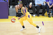 Los Angeles Sparks guard Riquna Williams (2) dribble the ball up court during a WNBA basketball game against Connecticut Sun, Friday, May 31, 2019, in Los Angeles.The Sparks defeated the Sun 77-70.  (Dylan Stewart/Image of Sport)