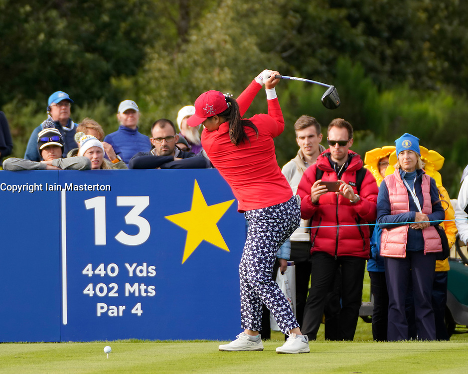 Solheim Cup 2019 at Centenary Course at Gleneagles in Scotland, UK. Angel Lin of USA drive on 13th hole during the Friday Afternoon Fourballs.