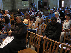 Wednesday 2nd October 2016.<br /> St. George's Cathedral,<br /> Cape Town,<br /> Western Cape,<br /> South Africa.<br /> <br /> #SaveSouthAfrica Silent Prayer Vigil In Cape Town!<br /> <br /> People sit during a special service after Concerned Citizens and Religious Leaders held a silent protest at St. George's Cathedral in Cape Town.<br /> <br /> Concerned Religious Leaders and other South Africans gathered together in silent protest in support of the call to #SaveSouthAfrica from 'the acute social crisis that has been brought about by corruption, mismanagement and political intrigue' as reported nationwide in the news. The campaign was formed under the banner of holding government leaders accountable to the Constitution and the values they have pledged to uphold as representatives of the people. The #SaveSouthAfrica Silent Prayer vigil was held at St. George's Cathedral in Cape Town, South Africa on Wednesday 2nd November 2016.<br /> <br /> Picture By:  Mark Wessels / RealTime Images.