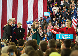 November 8, 2016 - Raleigh, United States - Bill Clinton, Hillary Clinton, Lady Gaga, Jon Bon Jovi, Chelsea Clinton during a campaign rally at North Carolina State University on November 8, 2016 in Raleigh North Carolina. With less than 24 hours until Election Day in the United States, Hillary Clinton is campaigning in Pennsylvania, Michigan and North Carolina. (Credit Image: © Zach D Roberts/NurPhoto via ZUMA Press)