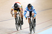 Eddie Dawkins and Ethan Mitchell compete in the sprint during the 2019 Vantage Elite and U19 Track Cycling National Championships at the Avantidrome in Cambridge, New Zealand on Friday, 08 February 2019. ( Mandatory Photo Credit: Dianne Manson )