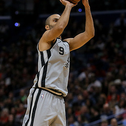 Apr 11, 2018; New Orleans, LA, USA; San Antonio Spurs guard Tony Parker (9) shoots against the New Orleans Pelicans during the second half at the Smoothie King Center. The Pelicans defeated the Spurs 122-98. Mandatory Credit: Derick E. Hingle-USA TODAY Sports