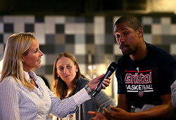 Rohndell Goodwin of Bristol Flyers is interviewed at the 2017/18 season launch event at Ashton Gate - Mandatory by-line: Robbie Stephenson/JMP - 11/09/2017 - BASKETBALL - Ashton Gate - Bristol, England - Bristol Flyers 2017/18 Season Launch