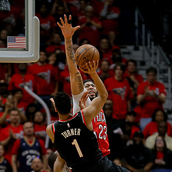 Apr 21, 2018; New Orleans, LA, USA; New Orleans Pelicans forward Anthony Davis (23) blocks a shot by Portland Trail Blazers forward Evan Turner (1) during the second half in game four of the first round of the 2018 NBA Playoffs at the Smoothie King Center. Mandatory Credit: Derick E. Hingle-USA TODAY Sports