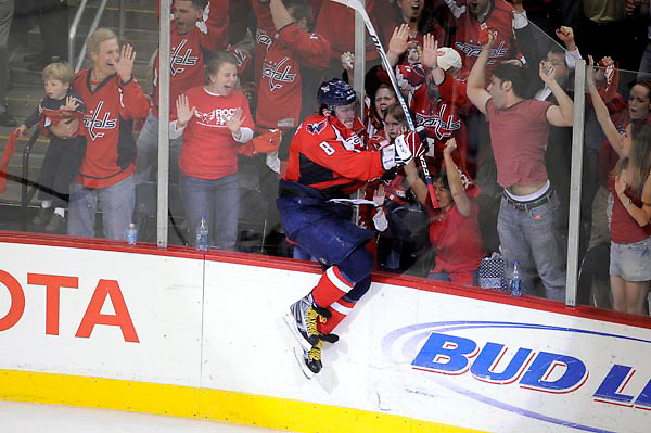 11 April 2008:  Washington Capitals left wing Alexander Ovechkin (8) of Russia jumps into the boards after scoring the winning goal with 4:33 remaining in the 3rd period against the Philadelphia Flyers in the Eastern Conference NHL quarterfinal playoff game at the Verizon Center in Washington, D.C.  The Capitals defeated the Flyers 5-4 in the first game of the Eastern Conference NHL quaterfinal playoff game..