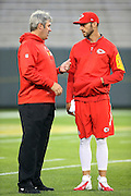 (L-R Kansas City Chiefs offensive coordinator Doug Pederson talks to Kansas City Chiefs quarterback Alex Smith (11) before the 2015 NFL week 3 regular season football game against the Green Bay Packers on Monday, Sept. 28, 2015 in Green Bay, Wis. The Packers won the game 38-28. (©Paul Anthony Spinelli)