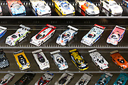Miniature racing car models on display at the exhibition musee at Le Mans Racetrack in France