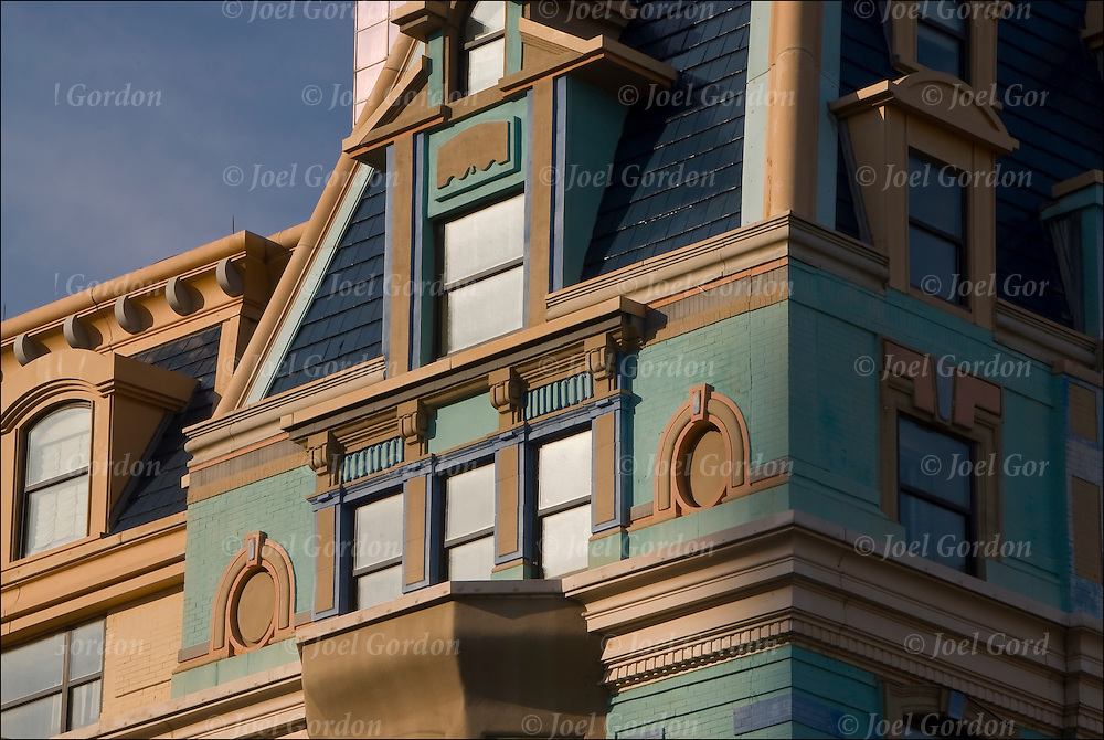 Close up of exterior details of the Queen Anne style architecture of the old Marlborough-Blenheim Hotel. Later merged into Bally's Atlantic City.