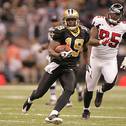 2008 December, 07: New Orleans Saints wide receiver Devery Henderson (19) breaks away from the Falcons defender Jonathan Babineaux (95) on a catch and run during a 29-26 victory by the New Orleans Saints over NFC South divisional rivals the Atlanta Falcons at the Louisiana Superdome in New Orleans, LA.