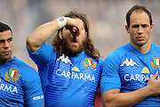 Italy prop Martin Castroiovanni pulls a face during the national anthems. <br /> Scotland v Italy, Six Nations Championship, Murrayfield, Edinburgh, Scotland, Saturday 19th March 2010.<br /> Please credit ***FOTOSPORT/DAVID GIBSON***