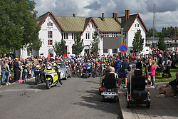 The peloton stops for a short commemoration at the train station of Sarpsborg on Stage 2 of the Ladies Tour of Norway - a 140.4 km road race, between Sarpsborg and Fredrikstad on August 19, 2017, in Ostfold, Norway. (Photo by Balint Hamvas/Velofocus.com)
