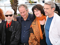Alain Resnais, Hippolyte Girardot, Anne Dupery, Lambert Wilson at the Vous N'Avez Encore Rien Vu photocall at the 65th Cannes Film Festival France. Monday 21st May 2012 in Cannes Film Festival, France.