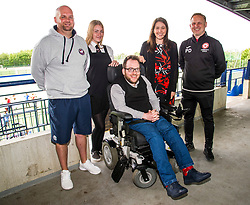 Pictured: Eric Jones, rugby coach at Lismore Rugby Club, Leah Carrigan, (16) Lismore Rugby Club player, Mark Cooper, Cricketer, Aileen Campbell and Paul Doig Edinburgh South Community Football Club<br /> <br /> During a visit to Meggatland Sports Complex in Ediburgh today, Minister for Sport, Aileen Campbell, launched a GBP1 million cash fund as part of a new programme aimed at using the power of sport to change lives and create a more inclusive and healthier nation.<br /> <br /> Ger Harley; Edinburgh Elite media