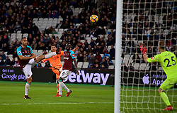 LONDON, ENGLAND - Saturday, November 4, 2017: Liverpool's Roberto Firmino sees his shot go over the bar during the FA Premier League match between West Ham United FC and Liverpool FC at the London Stadium. (Pic by David Rawcliffe/Propaganda)