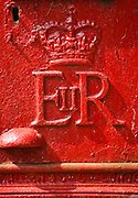 Royal Mail Post-Box with the cypher of the Queen's initials E II R to mark the reign of Queen Elizabeth II, England