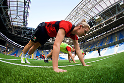 ASTANA, KAZAKHSTAN - Friday, September 15, 2017: Wales' Rhiannon Roberts training at the Astana Arena ahead of the FIFA Women's World Cup 2019 Qualifying Round Group 1 match against Kazakhstan. (Pic by David Rawcliffe/Propaganda)