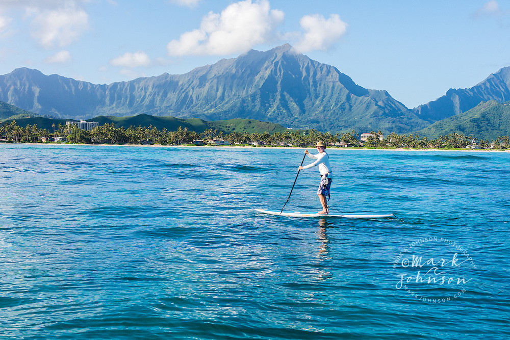 Stand-Up Paddle Boarding in Kailua Bay, Oahu, Hawaii
