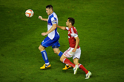 Bristol Rovers Defender Tom Parkes (ENG) is challenged by Bristol City Forward Sam Baldock (ENG) during the second half of the match - Photo mandatory by-line: Rogan Thomson/JMP - Tel: 07966 386802 - 04/09/2013 - SPORT - FOOTBALL - Ashton Gate, Bristol - Bristol City v Bristol Rovers - Johnstone's Paint Trophy - First Round - Bristol Derby