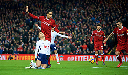 LIVERPOOL, ENGLAND - Sunday, February 4, 2018: Tottenham Hotspur's Erik Lamela dives under pressure from Liverpool's Virgil van Dijk  to win a second penalty for Tottenham Hotspur in injury time during the FA Premier League match between Liverpool FC and Tottenham Hotspur FC at Anfield. (Pic by David Rawcliffe/Propaganda)
