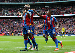 Yannick Bolasie of Crystal Palace celebrates with his teammates after scoring the opening goal - Mandatory by-line: Robbie Stephenson/JMP - 24/04/2016 - FOOTBALL - Wembley Stadium - London, England - Crystal Palace v Watford - The Emirates FA Cup Semi-Final