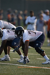 Eugene Monroe (75)..The 2007 Virginia Cavaliers football team opened fall practice on August 6, 2007 at the University of Virginia football practice fields near the McCue Center in Charlottesville, VA.