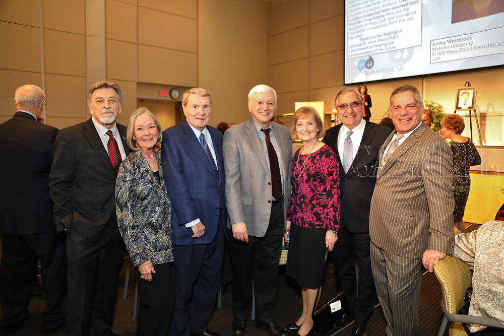 Co-chair Tom Eschen, Carol Voss, Jim Lehrer, Jim Kirchherr, Betsy Bruce, Jack Gelmiche, Bill Greenblatt