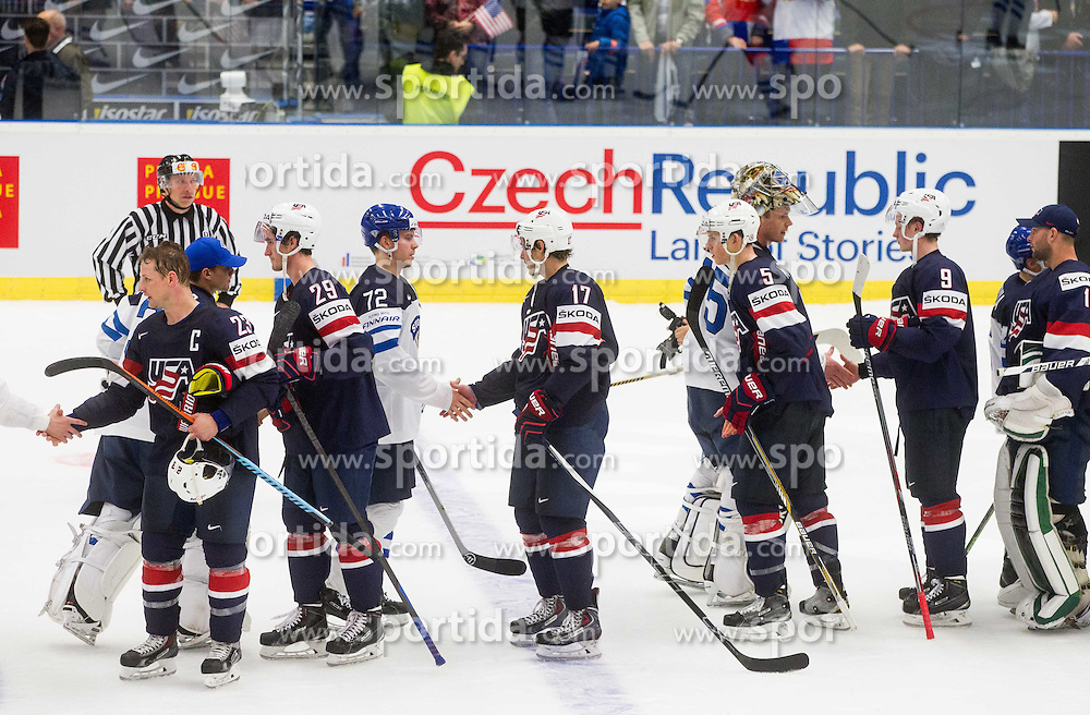 Matt Hendricks of USA, Brock Nelson of USA, Joonas Donskoi of Finland, John Moore jr. of USA, Pekka Rinne of Finland, Connor Murphy of USA and Jack Eichel of USA  Ice Hockey match between USA and Finland at Day 1 in Group B of 2015 IIHF World Championship, on May 1, 2015 in CEZ Arena, Ostrava, Czech Republic. Photo by Vid Ponikvar / Sportida