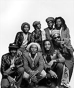 Bob Marley and the Wailers group shot taken at the Kensington Hilton
